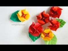 LEYLAS SWEET PEA ROSES Origami Quickie Rose and Leaf :: Rosa y hoja fácil - YouTube