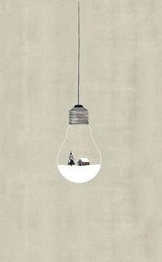 A light winter wonderland. Light Bulb Art, Make And Sell, Illustration Art, Ceiling Lights, Lighting, Pendant, Winter Wonderland, Artwork, Xmas