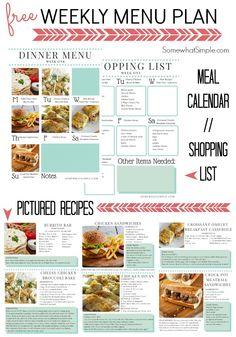 Dinner Menu- Week 2 - Somewhat Simple