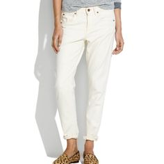 "MADEWELL lightweight cream ""The BoyJean"" The cut is called ""BoyJean"" - which is a skinny cut version of boyfriend. Super light, soft and broken-in feeling denim - not like regular thick denim material. Perfect for hot days. Perfect for spring and summer or to pair with resort wear top. Madewell jeans have the best fit ever!!! Madewell Jeans"