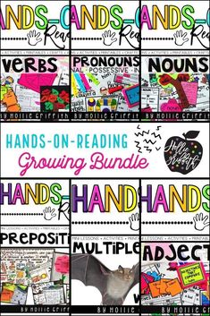 This is the Language Domain GROWING bundle of all of my first grade Hands-on Reading units. It will cover ALL of the first grade Common Core Standards for Language (conventions and vocabulary). Each unit is a complete hands-on mini unit that will include a week or more of lesson plans, anchor charts, class games with recording sheets, interactive-notebook pages, scavenger hunts, partner games, task cards, crafts, and assessments. #HollieGriffithTeaches  #ClassroomFun #TeacherResources