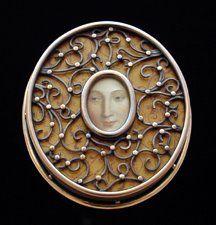 "Diane Falkenhagen - ""The Look;"" Brooch, 2001 - Copper, Mixed Media Image on Polymer Clay"