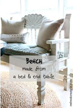 DIY:: Bench From Bed & End Table ! I wonder if I could find a bench the size of a headboard. That would be easier for me to do. spa How to Make a Bench Furniture Projects, Furniture Making, Furniture Makeover, Home Projects, Diy Furniture, Painted Furniture, Making A Bench, Bed End, Do It Yourself Furniture