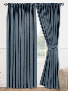 Velvet Misty Blue Curtains - velvet curtains are a classic choice and in this misty blue colourway offer a contemporary feel. Subtle and understated, they provide comfort and luxury. Luxury Curtains, Home Curtains, Velvet Curtains, Window Curtains, Blue Curtains Living Room, Thick Curtains, Drapes And Blinds, Elegant Curtains, Contemporary Decorative Pillows