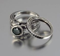 @Athena Beams  / very different!!! CARYATID Silver Ring and band with Black Spinel by WingedLion, $500.00