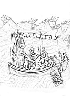 Pescuirea minunata Deep Art, Life Of Christ, Cartoon Icons, Orthodox Icons, Sacred Art, Christian Art, Line Drawing, Coloring Pages, Tapestry