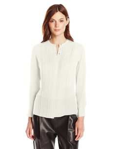 Vince Women's Mandarin Pleat Front, Chalk, 8. Mandarin collar. Concealed placket. Exposed top button. Inverted back pleat.