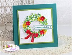 Stampin UP Wondrous Wreath Birthday card by Sandi @ www.stampingwithsandi.com