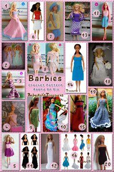20 Barbie Dresses 63 Delightful Barbie Crochet Patterns via Crochet Barbie Patterns, Crochet Doll Dress, Crochet Doll Pattern, Crochet Dresses, Barbie Und Ken, Free Barbie, Barbie Clothes Patterns, Crochet Barbie Clothes, Dress Patterns