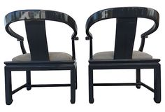 Asian Modern Lacquered Chairs, Pair | One Kings Lane