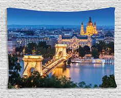 Ambesonne European Cityscape Decor Collection Historical Old Bridge in Budapest Traditional European Culture Urban Old City Deco Bedroom Living Room Dorm Wall Hanging Tapestry 60 X 40 Inches Multi -- Amazon most trusted e-retailer