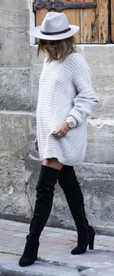 Sweater tunic & tall boots