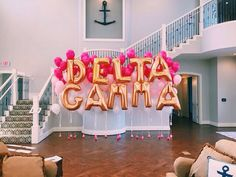 delta gamma house, balloons, recruitment // rush dg: Cute for assistant/mentee birthday surprise in classroom