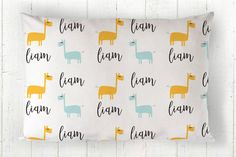 Personalized Kids Pillow  Toddler Pillowcase  Cotton by tinytweets