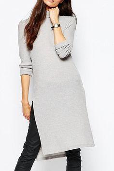 Solid Color Side Slit Turtle Neck Sweater Dress