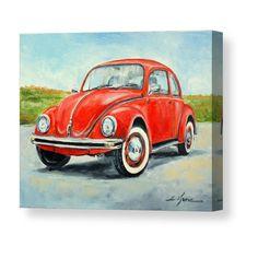 Volkswagen Bus Discover VW Beetle by Luke Karcz vw artwork Painting Studio, Car Painting, Canvas Art, Canvas Prints, Art Prints, Painting Canvas, Realistic Paintings, Car Drawings, Oil Painting Reproductions
