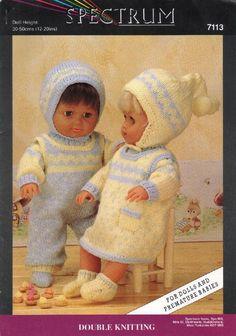 Dolls knitting patterns free from Spectrum. To Sandra Gogerty on messenger. Knitting Dolls Clothes, Crochet Doll Clothes, Knitted Dolls, Doll Clothes Patterns, Doll Patterns, Bitty Baby Clothes, Girl Doll Clothes, Chunky Knitting Patterns, Knit Patterns