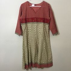 Soft cotton tunic or dress - Indian Maroon and beige combi cotton tunic.. Can be worn as dress or goes well with any bottom. Alka Dresses