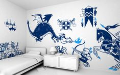 Kids Wall Decals Set - Knight and Dragon theme (free shipping) - Pack of 8 large Children Wall Stickers for Baby Nursery or Kids Room by EGLUE on Etsy https://www.etsy.com/listing/226555469/kids-wall-decals-set-knight-and-dragon