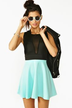 Colorblock Skater Dress