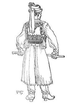 Kalotaszegi legény Folk Costume, Costumes, The Shepherd, Folk Art, Stitches, Draw, History, People, Collection