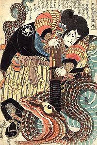 Jiraiya, personnage du conte japonais Jiraiya Goketsu Monogatari, d'abord chef de clan puis ninja. Estampe d'Utagawa Kuniyoshi.