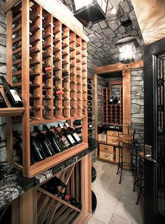 Wine Cellar in dinning room using existing wood
