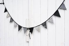 Classy Black and White Halloween Pennant Banner by LifeScooped, $27.00
