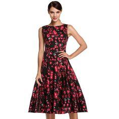 Retro Vintage 1950s 60s Rockabilly Pinup Girl Floral Swing Summer Dresses Vestidos Easter Dress