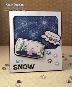 Forest Friends Create a Scene Die Set, Snowfall stamp set, Mason Jars stamp and die set : Your Next Stamp  #yournextstamp