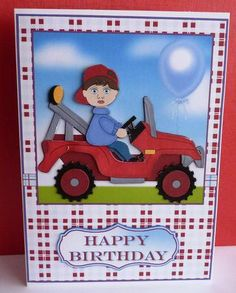 Little Red Tractor Card Front and Decoupage on Craftsuprint designed by Sue Way - made by Anne Jackson - I printed onto good quality card, then made up the decoupage and added the sentiment at the bottom before mounting onto a white card. - Now available for download!