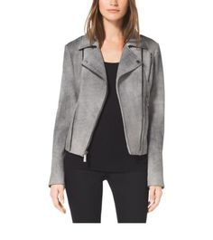 Sueded Leather Moto Jacket | Michael Kors