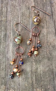 Items similar to Eclectic Copper Earrings with Colorful Artistic Matte Czech Glass Beads on Etsy