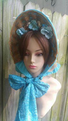 Robin's Egg Blue 1860s Civil War Bonnet by 1800sMillineryShop