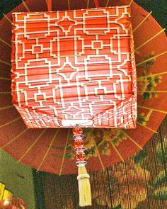 Exotic Orange Red Tangerine Fabric Lantern 30 cm by BilasLanterns, $45.00