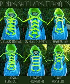 Running Shoe Lacing Techniques By KatieRunsThis: http://katierunsthis.com/2011/10/04/running-shoe-lacing-techniques/
