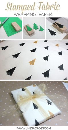 DIY gift wrap with stamped fabric... it's reusable gift wrap!