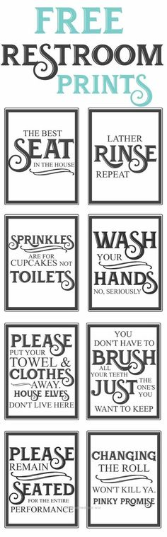 Excellent Free Vintage inspired bathroom printables-funny quotes to hang up in the restroom-farmhouse style-www.themoun… The post Free Vintage inspired bathroom printables-funny quotes to hang ..