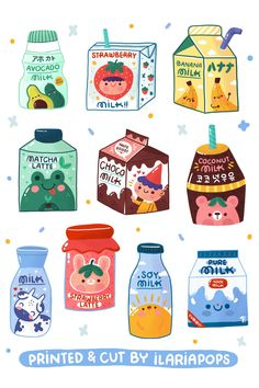 Set with 10 milk bottles illustrations. Handmade & illustrated by Ilariapops in Berlin, printed on a shiny, thick white paper.  - SIZES & MATERIALS - These adorable stickers come on a single, roughly, 4.33 x 5.90 (11 x 15 cm) inch Sticker Sheet, and are kiss cut. Each sticker is roughly 1.18 inch (3 cm) large.  #stickers #kawaiipackaging #planneraccessories Stickers Kawaii, Anime Stickers, Cool Stickers, Printable Stickers, Cute Food Drawings, Cute Kawaii Drawings, Cute Food Art, Cute Art, Milk Drawing