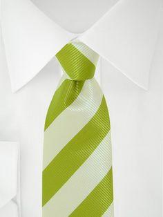 Stropdas 7 fold duo groen/wit