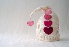 Knitted Heart Hat Idea - Transfer to crochet