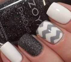 Fall nails idea by Lupita Chavez on Luuux nail polish, holiday nails, fall nails, nail arts, winter nails, winter nail art, nail ideas, black, chevron nails