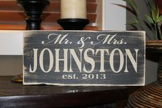 Personalized Mr & Mrs Wedding Sign Established Year  by SignsbyJen, $20.00