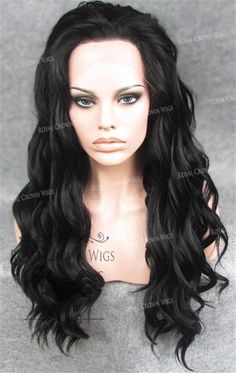 24 inch Synthetic Lace Front with Wave Texture in Black