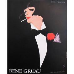 1980s Vintage French Fashion Poster, Smoking Woman in Tuxedo by Rene... ($343) ❤ liked on Polyvore featuring home, home decor, wall art, women poster, ship poster, moulin rouge poster, illustrated posters and black and white wall art