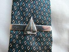 Silver Sail Boat Tie Clip