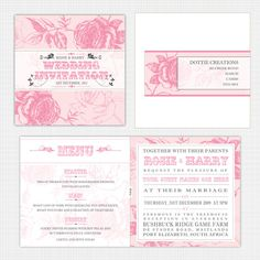 English Rose themed Wedding Stationary range by Dottie creations #English #Rose # floral #invitations