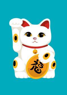 Cat+artwork | Emma Barratt U003e Lucky Cat Maneki Neko, Japanese Cat, Crazy