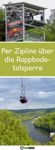 Zipline over the Rappbodetalsperre. In the Harz, there is more action than just hiking on the Brocke Europe Destinations, Outdoor Reisen, Mexico Travel, Adventure Travel, Uber, Camping, Holidays Germany, Wanderlust, Kindergarten