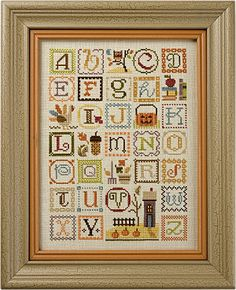 Autumn Alphabet model from Lizzie Kate Counted Cross Stitch Designs Fall Cross Stitch, Cross Stitch Letters, Cross Stitch Samplers, Counted Cross Stitch Patterns, Cross Stitch Designs, Cross Stitching, Cross Stitch Embroidery, Embroidery Sampler, Lizzie Kate